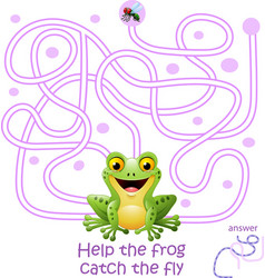 Card with maze game help the frog catch the fly vector