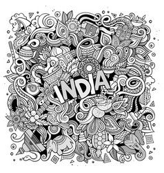 cartoon cute doodles hand drawn india vector image
