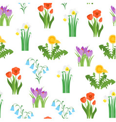 cartoon garden flowers seamless pattern background vector image
