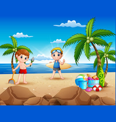 Cartoon of two boy playing on the beach vector