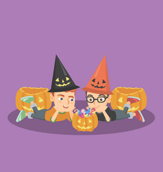 Caucasian boys staring at the pumpkin with candies vector