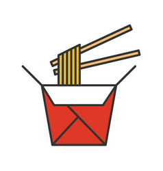 Chinese noodles in paper box and chopsticks color vector