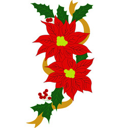 Christmas red flower vector