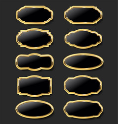 collection gold and black plates retro style vector image