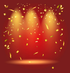 Colorful bright golden confetti on red background vector