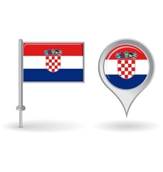 Croatian pin icon and map pointer flag vector