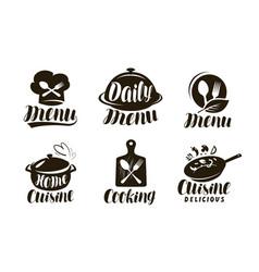Cuisine cooking logo or label set badges vector