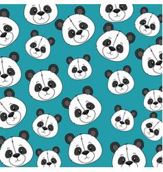 cute bear panda heads pattern vector image