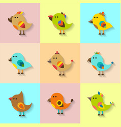 cute birds set in flat style vector image