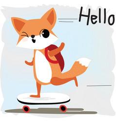 cute fox back to school cartoon vector image