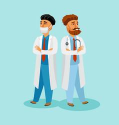 doctors in blue uniform design element vector image