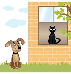 Dog and cat home vector