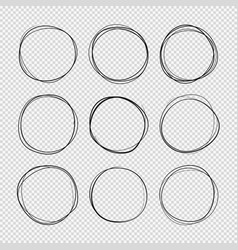 Doodle sketched circles hand drawn scribble rings vector