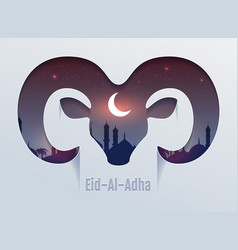 Eid al adha feast sacrifice head ram vector