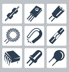 Electronic components icons set resistor vector