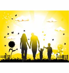 Family on nature vector