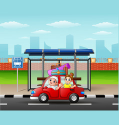 family traveling in a car on city skyline backgrou vector image