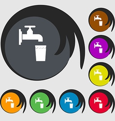 faucet glass water icon sign Symbol on eight vector image