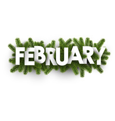 February banner with fir branches vector