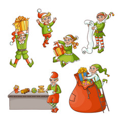Flat elves boy girl christmas scenes set vector
