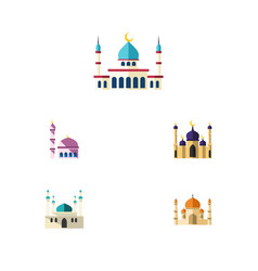 flat icon building set of islam building mosque vector image