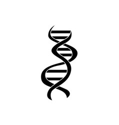 Flat silhouette dna icon on isolated white vector
