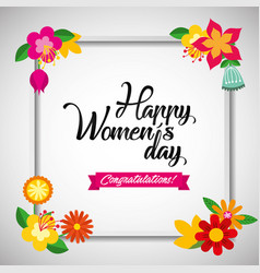 floral greeting card march 8 happy womes day vector image