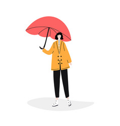 Girl holding red umbrella vector