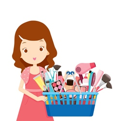 Girl holding shopping baskets full products vector