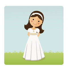 Girl with communion dress on blue sky background vector