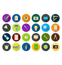 Graphic design round icons set vector image