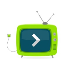 green retro tv with arrow wire Flat Design vector image