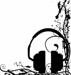 grunge headphones background vector image