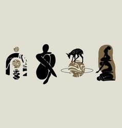 Hand drawn flat naked women deer planet vase vector