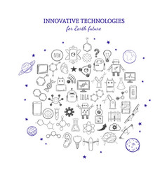 Hand drawn innovative technologies collection vector