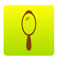 hand mirror sign brown icon at green vector image