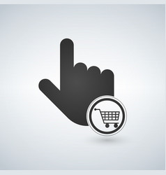 Hand pointer symbol and shopping cart concept for vector