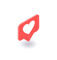 Heart like icon symbol in isometric 3d vector