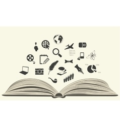 Icons drawn from an open book vector