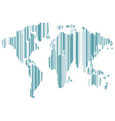 isolated blue color worldmap of lines on white vector image