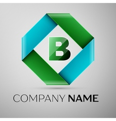Letter B logo symbol in the colorful rhombus vector