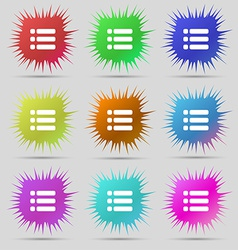 List menu Content view options icon sign A set of vector image