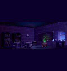 magic school classroom with cauldron at night vector image