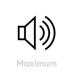 Max volume high sign icon editable line vector