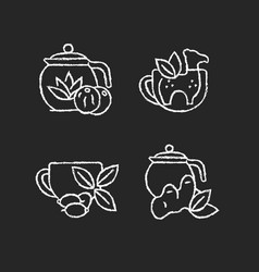 Medicinal tea chalk white icons set on dark vector