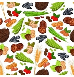 Nuts grain kernels berries seamless background vector