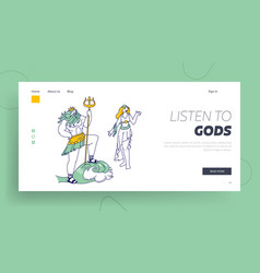 olympic gods landing page template poseidon or vector image