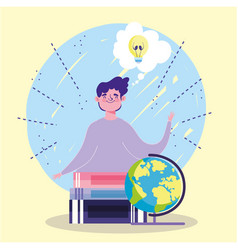 Online education student boy school globe stacked vector