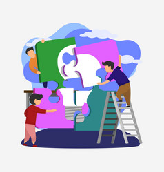 people connecting puzzle elements flat design vector image