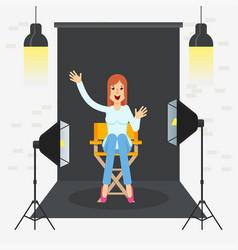 photostudio girl sitting vector image